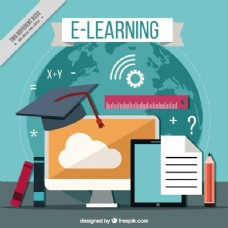 具有在线学习元素的平面设计背景
