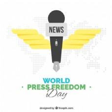 世界新闻自由日背景与麦克风形状的笔