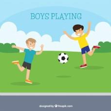 快乐男孩踢足球的背景