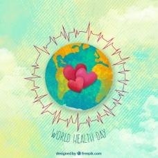 健康日水彩背景与世界和心脏