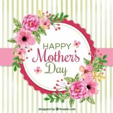 美丽的背景与母亲节的水彩花