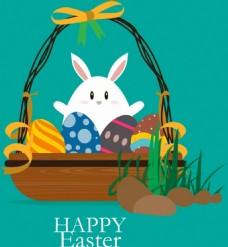篮子里可爱的兔子与彩蛋背景图