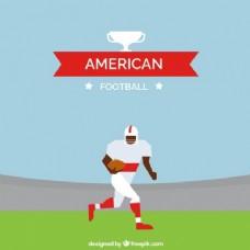 美式足球运动员的平面背景