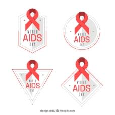 世界爱滋病日彩带的几何贴纸