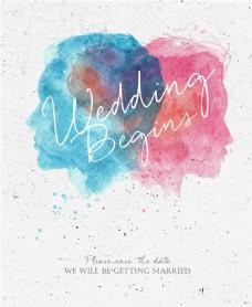 水彩结婚海报