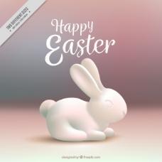 模糊背景与白色复活节兔子