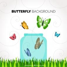 有玻璃瓶和彩色蝴蝶的背景
