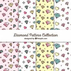 心形和钻石图案的平面收集
