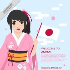 平坦的日本背景与微笑的女人