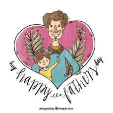 可爱的父亲节背景水彩风格