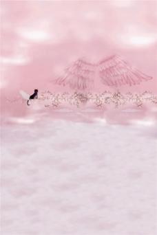 粉色翅膀黑猫H5背景