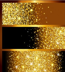 三款金色发光亮片奢华背景矢量素