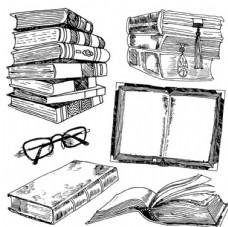 手绘书和眼镜