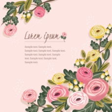 粉色玫瑰花手绘水彩唯美婚庆请柬卡片矢量
