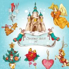 彩绘圣诞节装饰元素