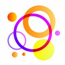 五彩圆圈几何元素,现代抽象背景。