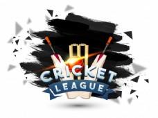 板球联盟抽象的背景与蝙蝠,光面球和门柱树桩刷背景。