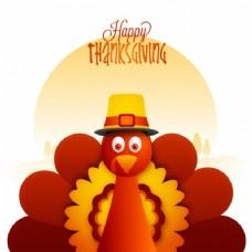 可爱火鸡的感恩节背景