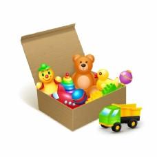带玩具的纸箱