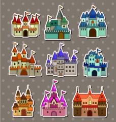 城堡儿童卡通贴纸标签矢量