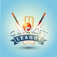 板球联盟的概念与蝙蝠,球和门柱在闪亮的天蓝色背景。