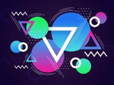 具有抽象几何元素的现代抽象背景,如圆形、三角形和线条。