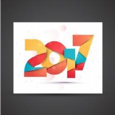 新年用不同颜色的几何卡片