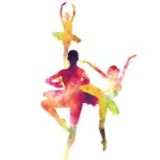 3个跳芭蕾舞的人喷绘填充素材元素