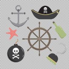 各种手绘海盗元素图标免抠png透明素材