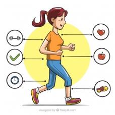 手绘图表的女人跑