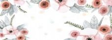 时尚手绘花朵banner背景