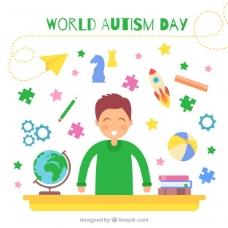 快乐儿童背景与自闭症世界日元素