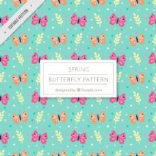 粉红色和橙色蝴蝶的奇妙图案