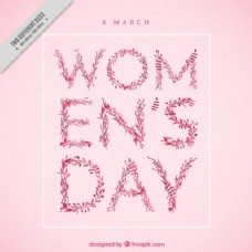 粉红女人日的背景与树叶细节