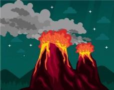 火山爆发背景图