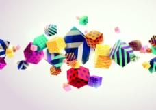 彩色筛子方块矢量背景素材