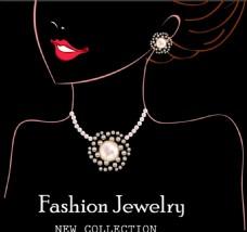 手绘时尚美女珠宝背景图