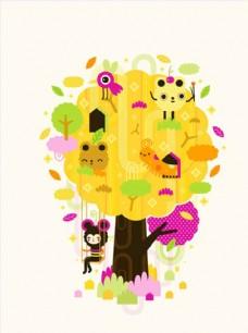 树叶叶子手绘卡通漫画