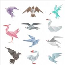 鸟类折纸矢量