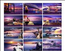 河畔紫色晚霞房地产围挡海报