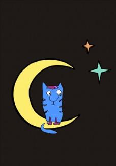 月牙卡通猫矢量图下载