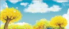 油画秋天风景背景设计
