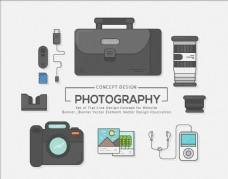 手提包相机摄影师矢量图标