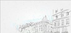 矢量手繪素描線描城市建筑背景