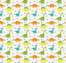 彩色恐龙无缝背景矢量素材
