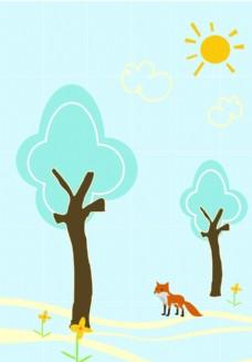 树林里晒太阳的动物
