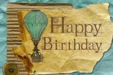 生日快乐牛皮纸字体设计