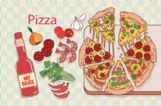比萨 披萨 pizza及酱料配