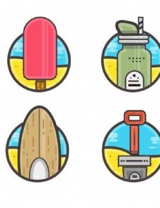 夏季矢量圆形小物件图模仿