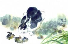 水墨画兔子